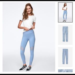 VS Pink High Wasit Cotton Mesh Legging:Blue, US M